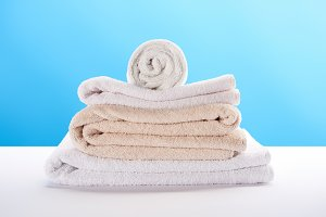 close-up view of clean soft towels s
