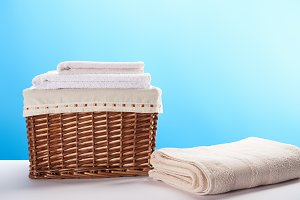 laundry basket and clean soft towels