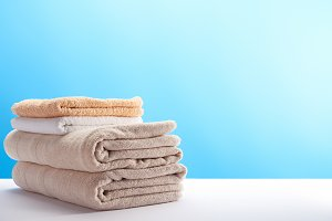 stack of clean fresh soft towels on