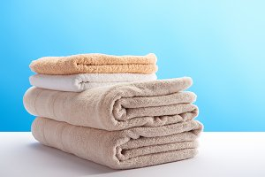close-up view of stacked clean towel