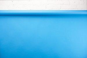 bright blue background and white bri