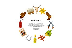 Vector cartoon wild west elements in
