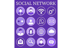 Social Network Poster Icons Vector