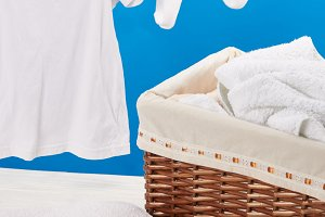 close-up view of laundry basket, pil
