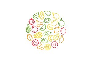 Vector line fruits icons in circle