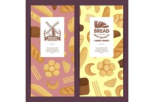 Vector cartoon bakery elements flyer