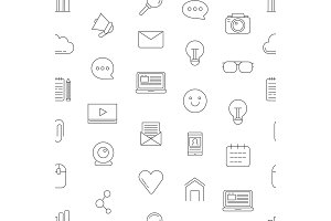 Vector line blog icons pattern or