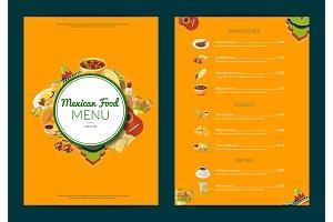 Vector cartoon mexican food cafe
