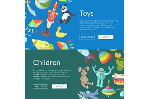 Vector cartoon children toys web