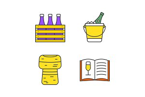 Alcohol color icons set