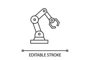 Industrial robotic arm linear icon