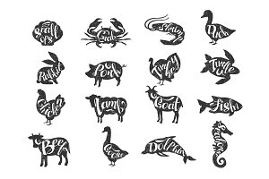 Vintage vector of farm animals and