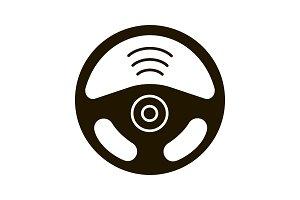 Autonomous car glyph icon