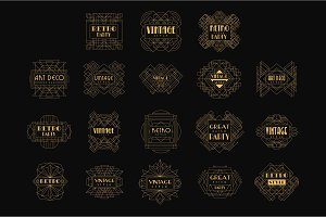 Decorative golden logo set in