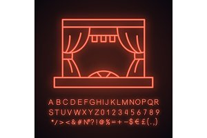 Theater stage neon light icon