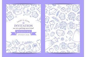 Vector doodle wedding invitation