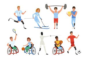 Set of Paralympics athletes with