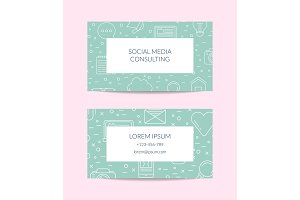 Vector line blog icons business card