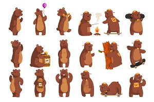 Set with funny bear. Forest animal