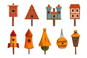 Birdhouse set, bird houses, nesting