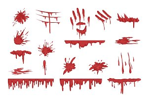 Blood spatters set, dripping blood