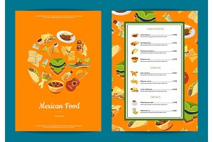 Vector cartoon mexican food cafe or