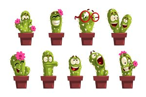 Potted cactus characters sett