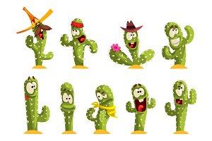 Cactus characters sett, funny cacti