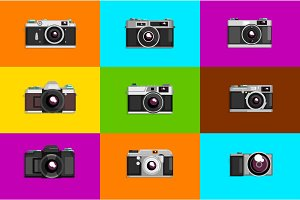 Camera sett, retro photo cameras on