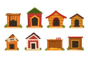 Wooden dog house set, dogs kennel