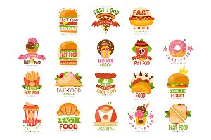 Fast food logos set, food and drink
