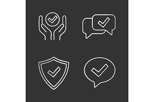 Approve chalk icons set