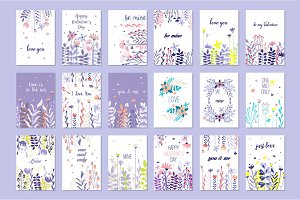 Romantic greeting cards set, trendy