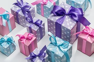 Festive boxes with gifts.