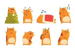 Cute cartoon hamster characters set