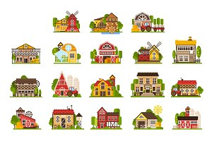 Farm houses and buildings set