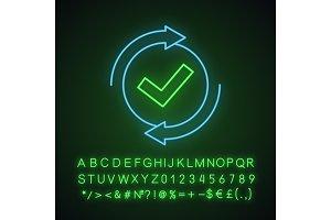 Checking process neon light icon