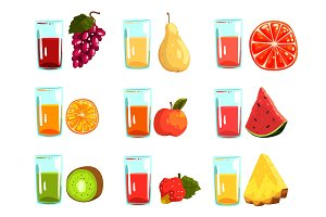 Fruit juices set, orange, apple