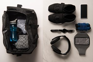 flat lay with sports bag and arrange