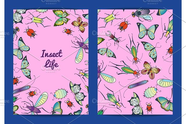 Vector hand drawn insects card