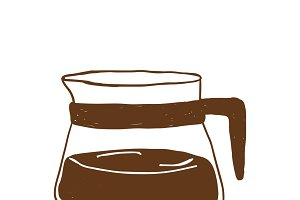 Pot of hot coffee icon vector