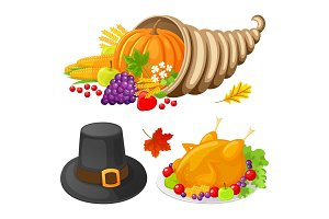 Pumpkin and Turkey Cooked Meat Icons