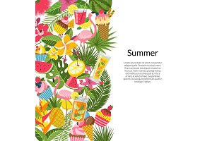 Vector flat cute summer elements
