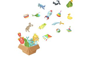 Vector cartoon children toys of box