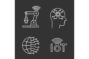 Artificial intelligence chalk icons