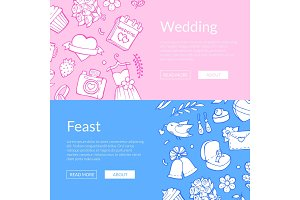 Vector doodle wedding elements web