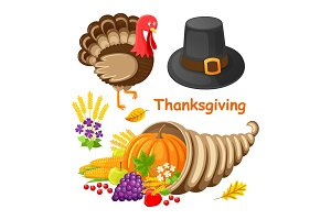 Thanksgiving Day Poster with Items