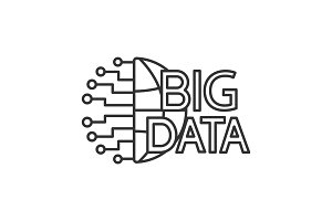 Big data linear icon