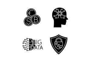 Artificial intelligence glyph icons