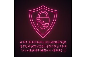 Cybersecurity neon light icon